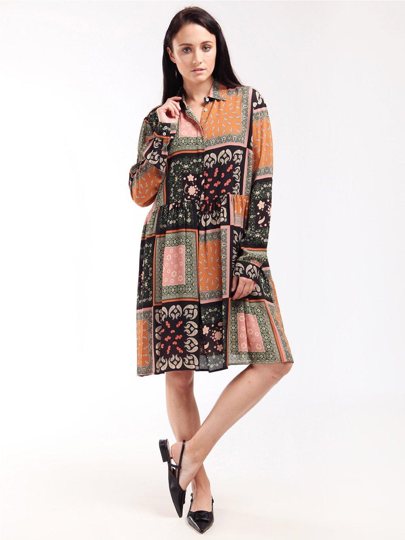 Vzorované šaty s dlouhým rukávem  MARELLA