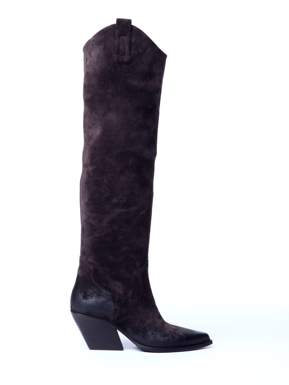 Vysoké kovbojské kozačky z broušené kůže  ELENA IACHI