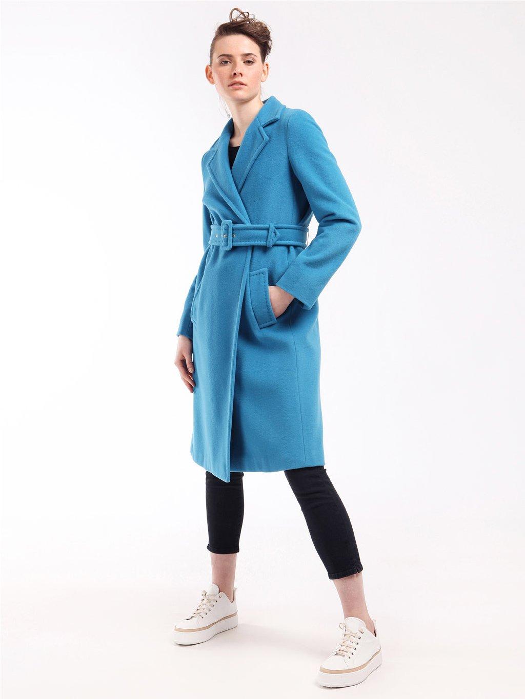 Vlněný kabát s páskem  MARELLA