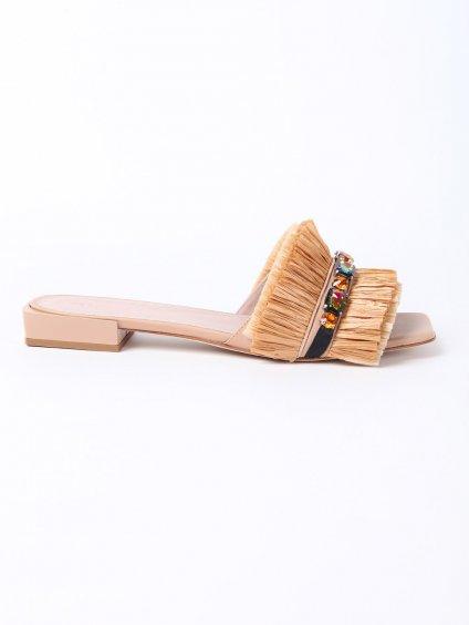 MURIZARI kožené pantofle s rafií