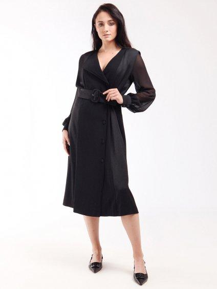Šaty s klopou a průhlednými rukávy  MARELLA