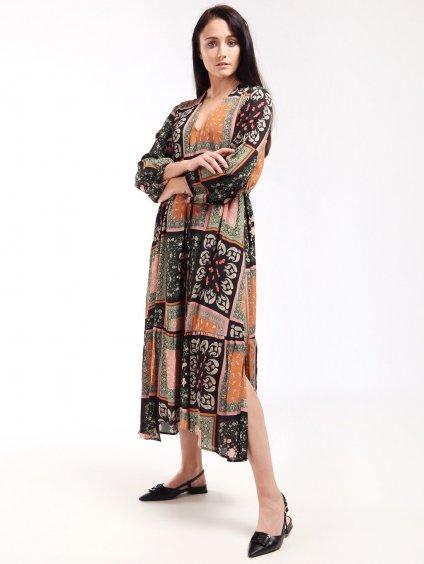 Vzorované maxi šaty s kanýrem  MARELLA