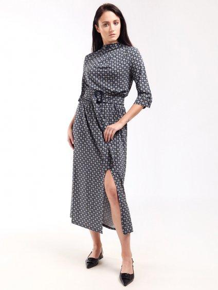 Vzorované viskózové šaty s rozparkem  MARELLA