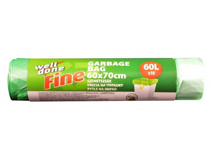Fine pytle na odpad 60l ZATAHOVACÍ, zelená, HDPE, 14my, 60x70 cm, 10ks