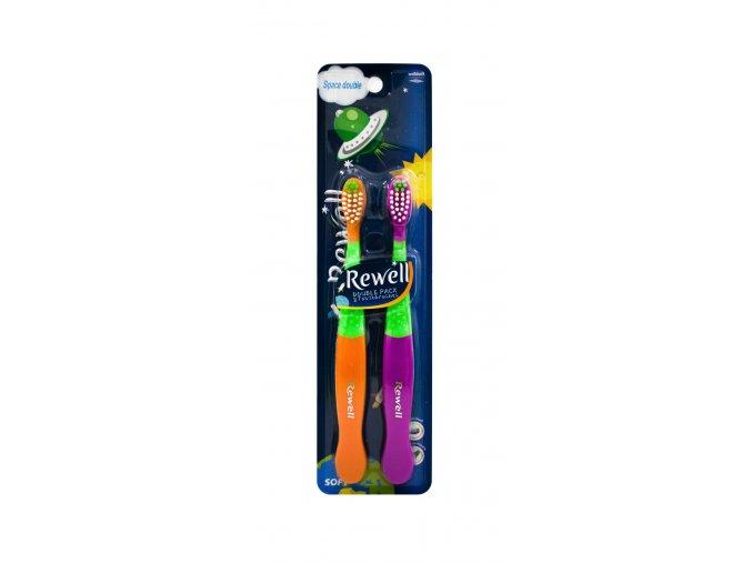 Rewell zubní kartáček pro děti Space Double Soft 2ks