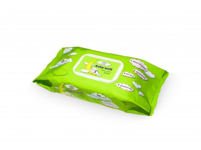 Baby well vlhčené ubrousky zelená Olivový olej