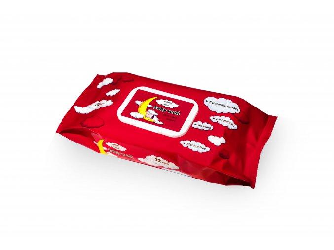 Baby well vlhčené ubrousky červená Heřmánek