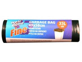Fine pytle na odpad 35l, černá, HDPE, 7my, 49x58 cm, 20ks
