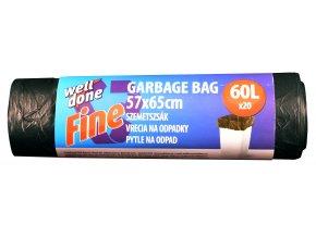 Fine pytle na odpad 60l, černá, HDPE, 7my, 57x65 cm, 20ks