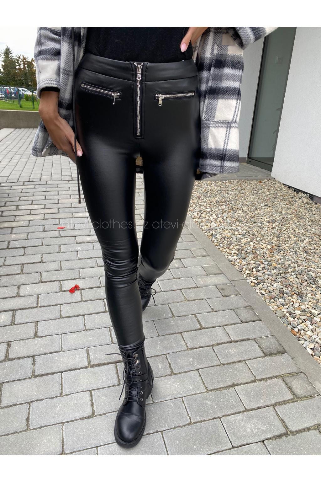 KOŽENKOVÉ LEGÍNY ZIPPER/BLACK