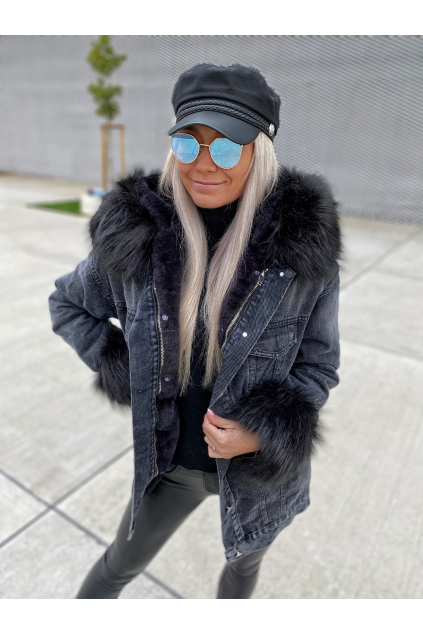 DELŠÍ RIFLOVÁ BUNDA LILI/BLACK