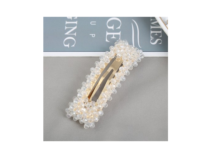 spinka do wlosow z krysztalkami prostokat biel sp100b