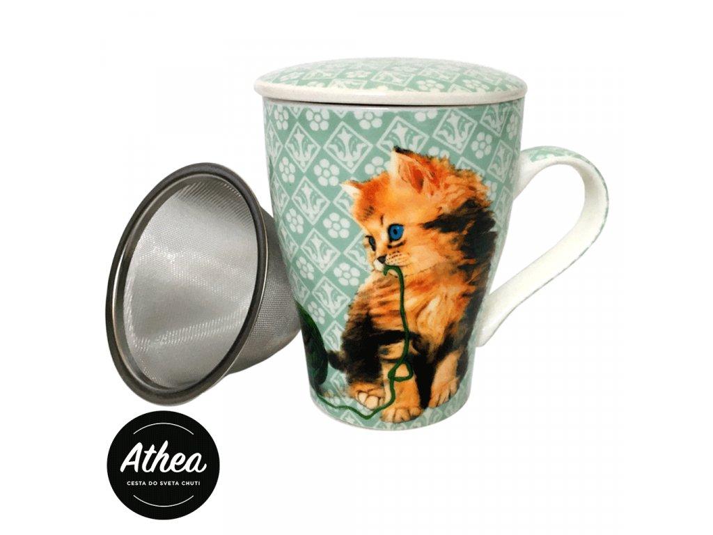 Šálka na čaj s vekom a sitkom 350ml Mačky