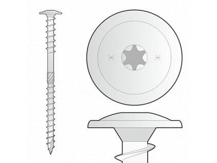WKT vrut do nadkrokevní izolace 8x330mm talířová hlava