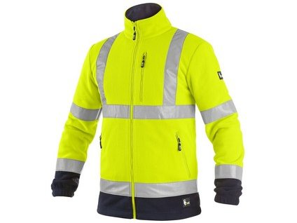Bunda CXS PRESTON, výstražná, fleece, žluto - modrá
