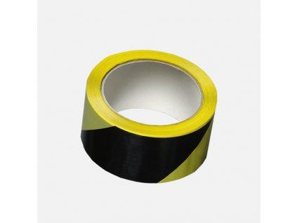 Lepicí páska výstražná, 50 mm x 66 m, černo žlutá