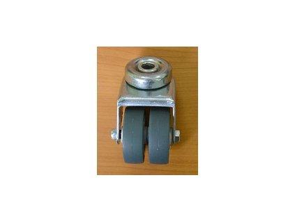 Kolečko dvouřadé 50x16 otočné/otvor pro šroub M10, šedá guma 70kg