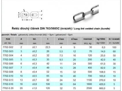 Řetěz dlouhý článek DIN 763/5685C leštěný, svazek