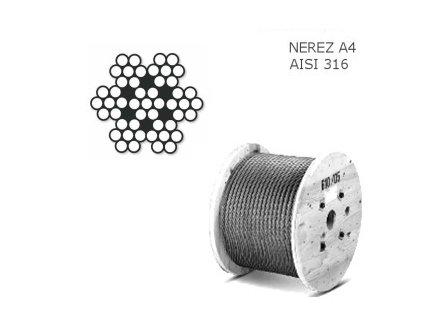 Lano z nerezové oceli A4 DIN3055 (7×7) velká cívka