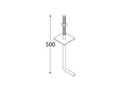 SK 500 - Kotva stavebni, nebarvený 500x12 mm