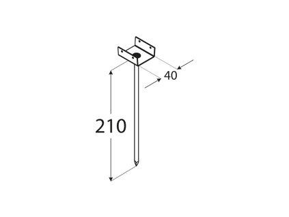 PD 210/40 T podpěrka střešních latí 40x55x210x1,5 mm