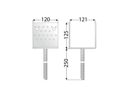 PSS 120 Patka sloupku 121x125x120x4,0