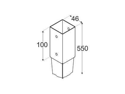 PSG  45/550 (46*550*1,5) Patka sloupku 45 k zarážení