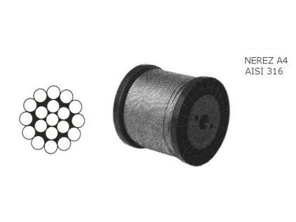 Lano z nerezové oceli A4 DIN3055 (1×19) malá cívka