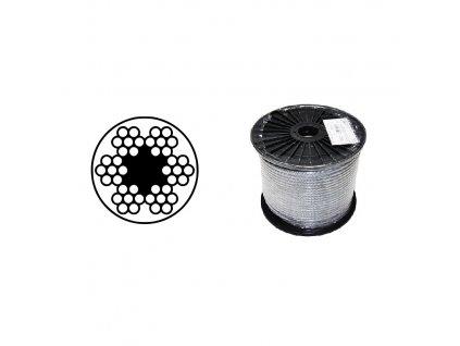 Lano ocelové DIN 3055 (6x7M-FC) PVC čiré, malá cívka
