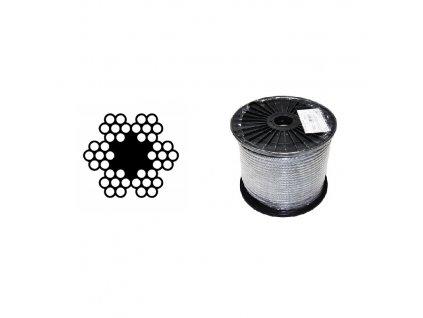 Lano ocelové DIN 3055 (6×7M-FC) malá cívka