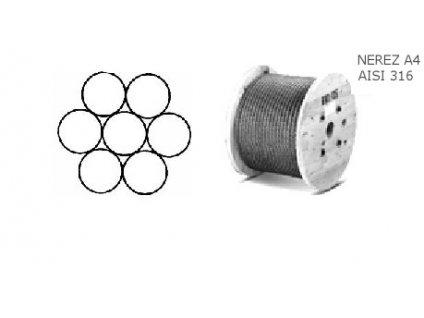 Lano z nerezové oceli A4 DIN3052 (1×7)