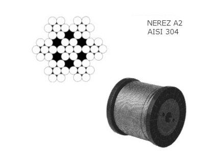 Lano z nerezové oceli A2 DIN3055 (7×7) malá cívka