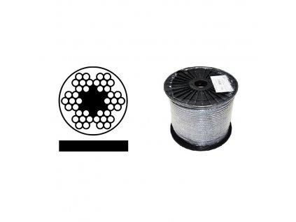 Lano ocelové DIN 3055 (6x7M-FC) PVC ČERNÉ, malá cívka