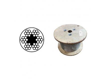 Lano ocelové DIN 3055 (6x7M-FC) PVC čiré, velká cívka