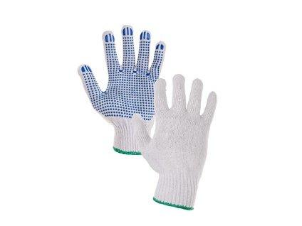 Textilní rukavice FALO, s PVC terčíky, bílo-modré, vel. 10