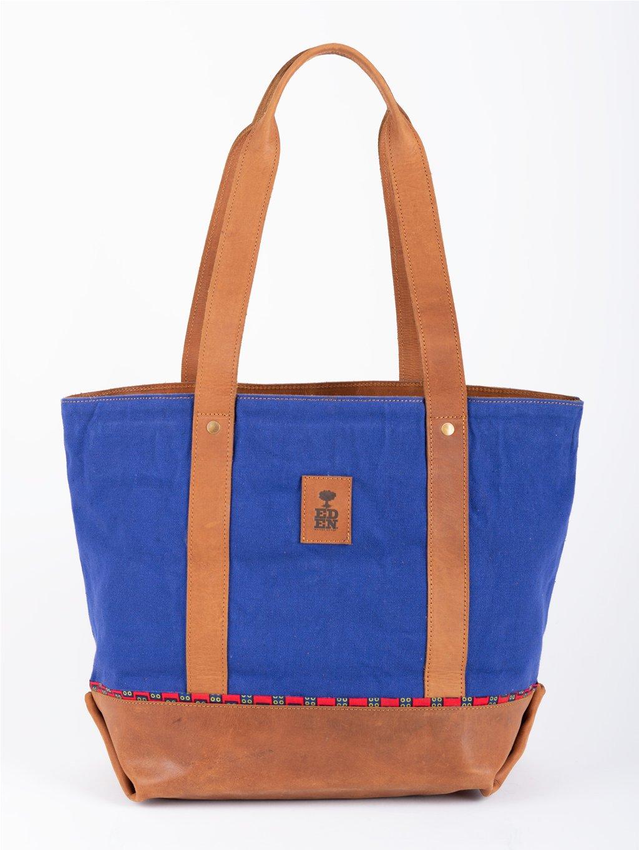 damska kozena kabelka nanda modra se zipem 01