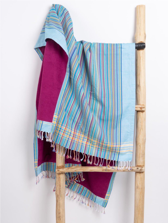 kikoi rucnik turquise rainbow stripes 01