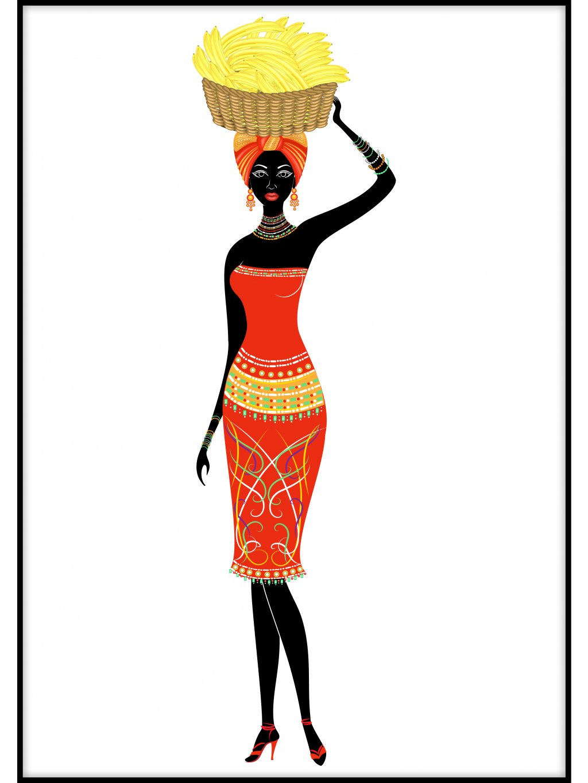 barevny africky plakat lady with fruit 01