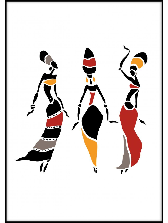 barevny africky plakat african dancers 01