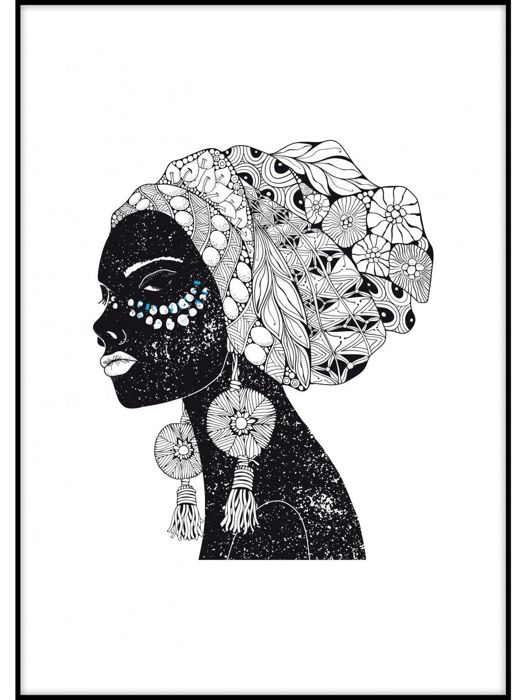barevny africky plakat afrowoman 01