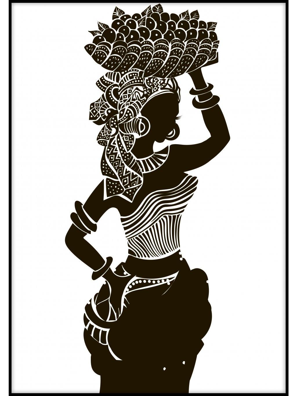 cernobily africky plakat lady with fruit 01