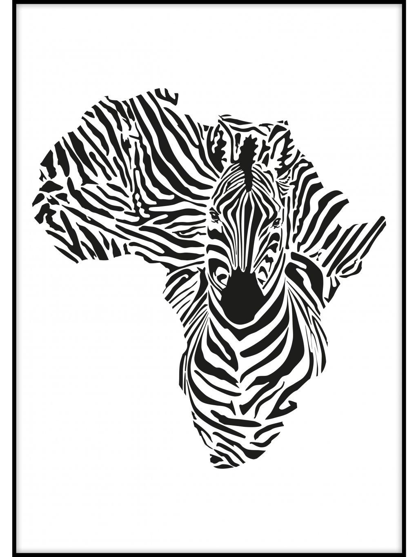 cernobily africky plakat zebra 01