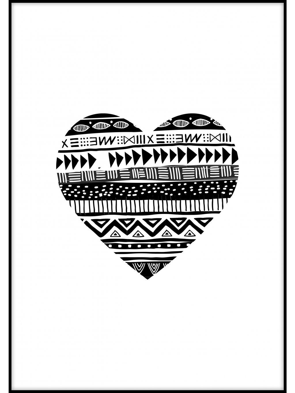 cernobily africky plakat heart 01