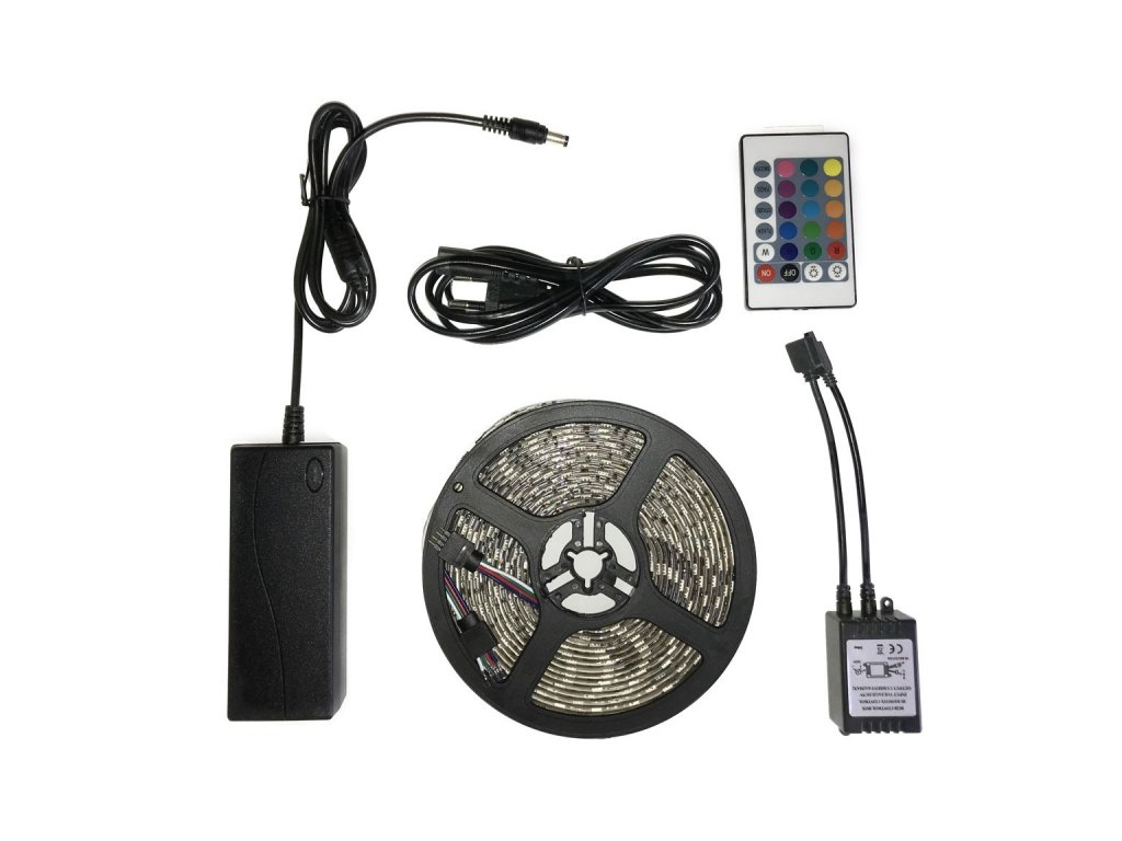 Ledia LED pás RGB 5m, SMD 5050, 30LED/m + zdroj, dálkové