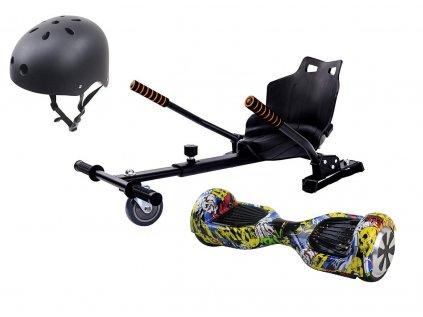 Aboard hoverboard 6,5 Graffiti Bluetooth hoverkart set cerna