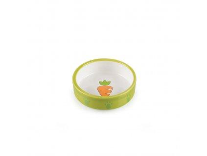 Keramická miska pro křečky zeleno/bílá, mrkvička