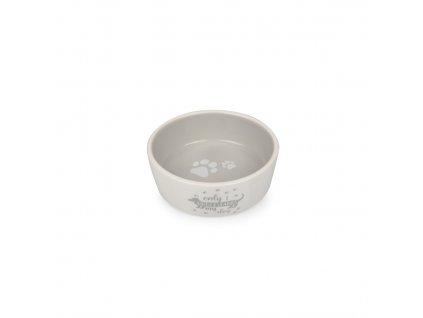 Keramická miska pro psy bílo/šedá s jezevčíkem