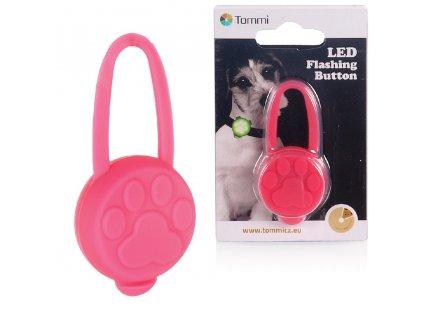 LED přívěsek na obojek silikonový/ růžový