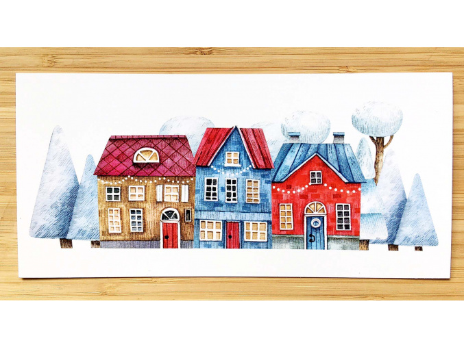 pohled zimní domky