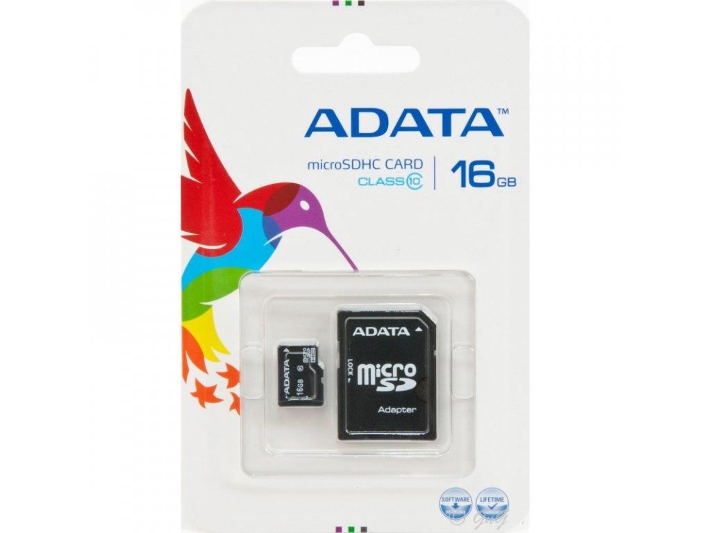 A-DATA Micro SDHC Card 16GB + SDHC adaptér Class 10